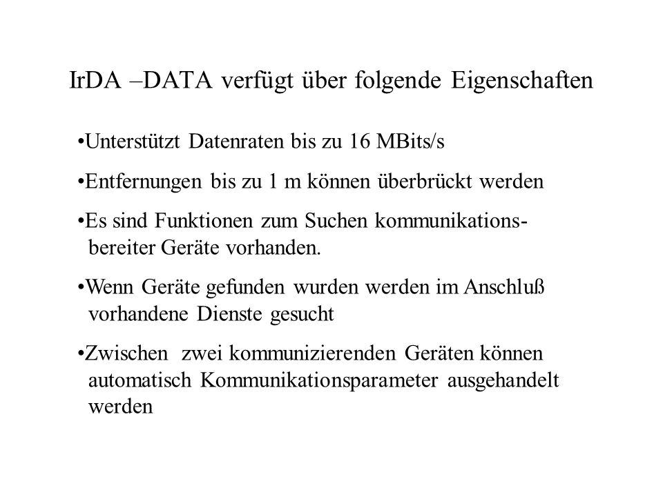 IrDA –DATA verfügt über folgende Eigenschaften Unterstützt Datenraten bis zu 16 MBits/s Entfernungen bis zu 1 m können überbrückt werden Es sind Funktionen zum Suchen kommunikations- bereiter Geräte vorhanden.