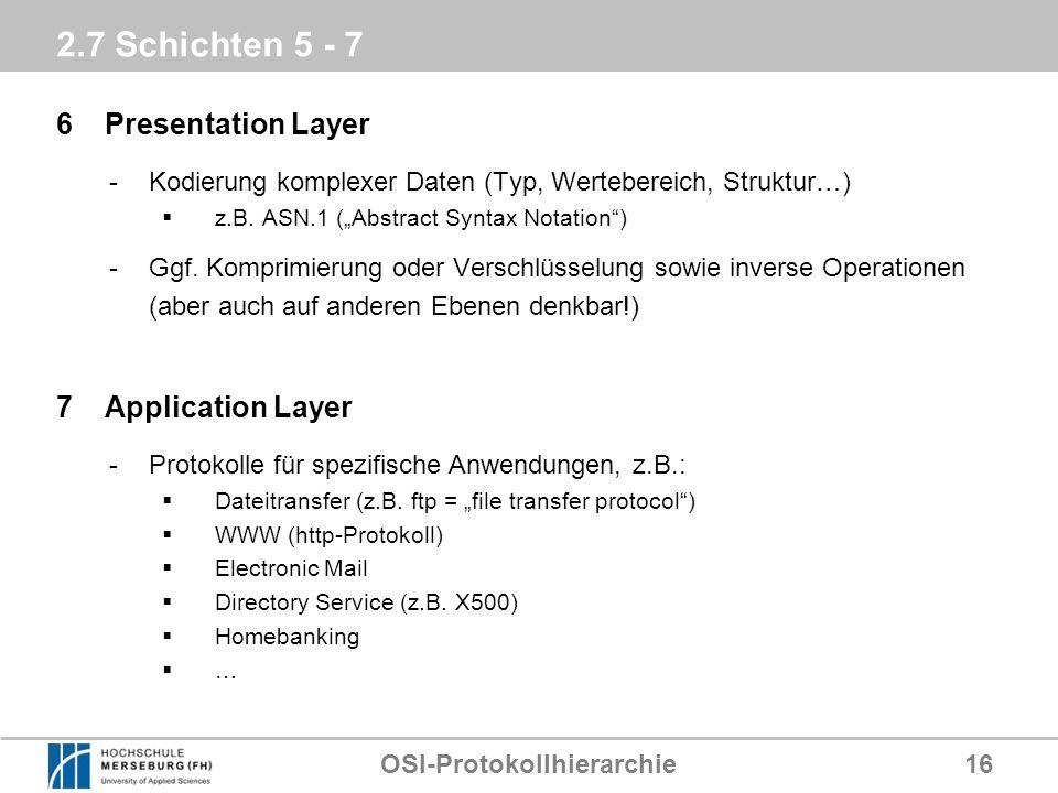 OSI-Protokollhierarchie16 2.7 Schichten 5 - 7 6Presentation Layer -Kodierung komplexer Daten (Typ, Wertebereich, Struktur…) z.B. ASN.1 (Abstract Synta