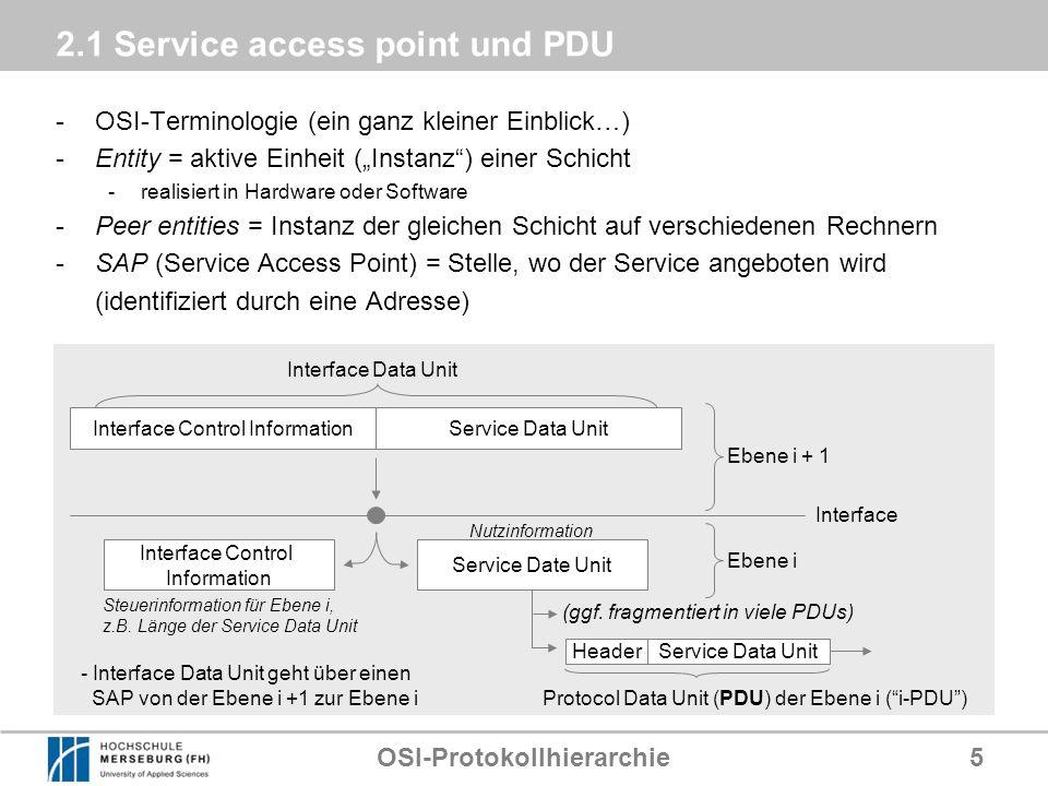 OSI-Protokollhierarchie5 2.1 Service access point und PDU -OSI-Terminologie (ein ganz kleiner Einblick…) -Entity = aktive Einheit (Instanz) einer Schi