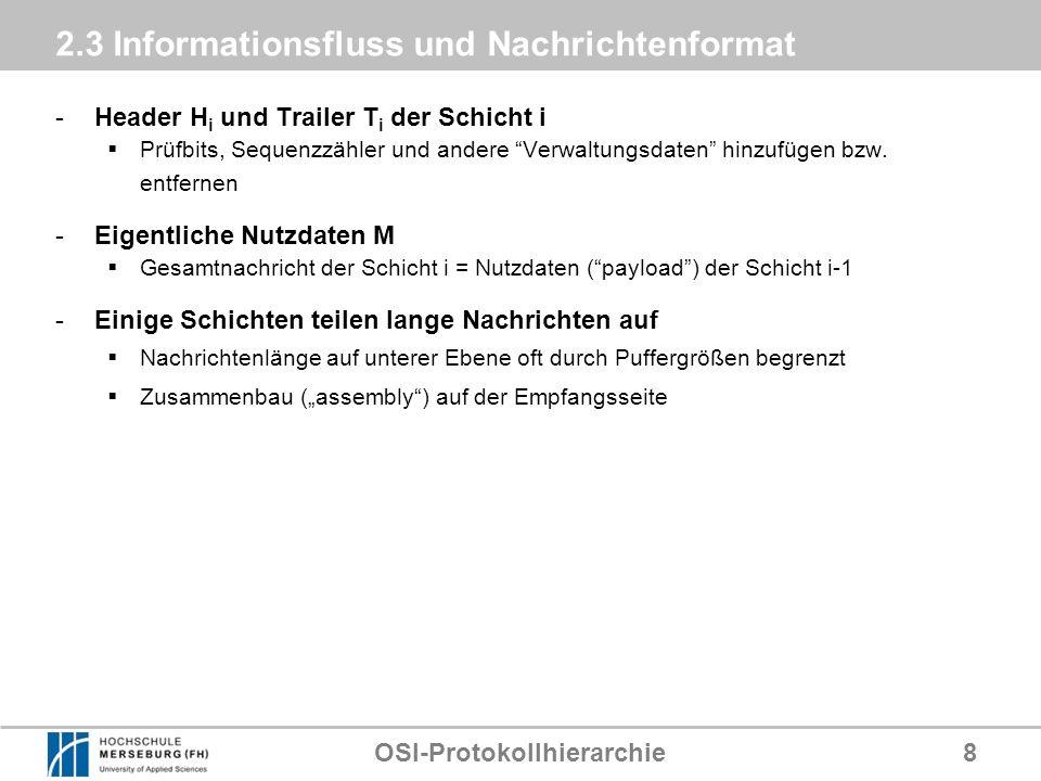 OSI-Protokollhierarchie8 2.3 Informationsfluss und Nachrichtenformat -Header H i und Trailer T i der Schicht i Prüfbits, Sequenzzähler und andere Verw