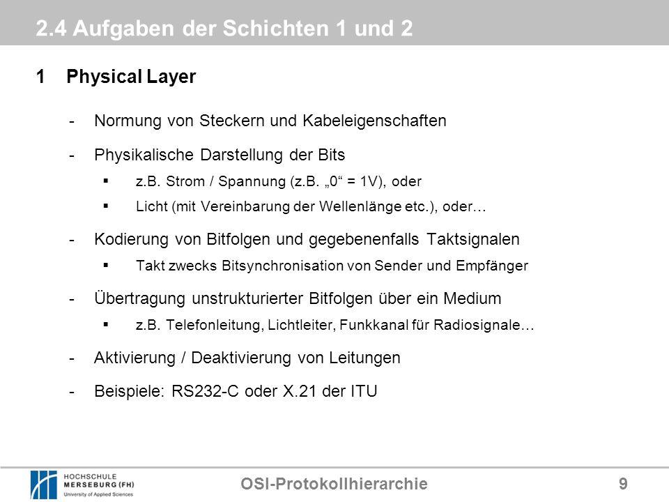 OSI-Protokollhierarchie9 2.4 Aufgaben der Schichten 1 und 2 1Physical Layer -Normung von Steckern und Kabeleigenschaften -Physikalische Darstellung de