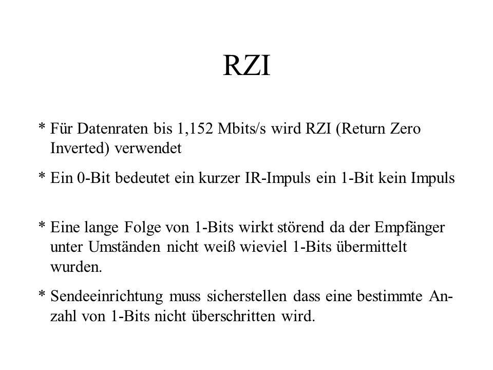 RZI * Für Datenraten bis 1,152 Mbits/s wird RZI (Return Zero Inverted) verwendet * Ein 0-Bit bedeutet ein kurzer IR-Impuls ein 1-Bit kein Impuls * Eine lange Folge von 1-Bits wirkt störend da der Empfänger unter Umständen nicht weiß wieviel 1-Bits übermittelt wurden.