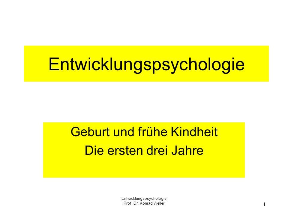 Entwicklungspsychologie Prof. Dr. Konrad Weller 1 Entwicklungspsychologie Geburt und frühe Kindheit Die ersten drei Jahre