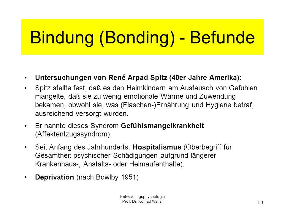 Entwicklungspsychologie Prof. Dr. Konrad Weller 10 Bindung (Bonding) - Befunde Untersuchungen von René Arpad Spitz (40er Jahre Amerika): Spitz stellte