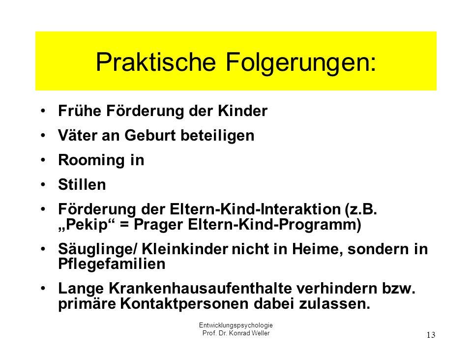 Entwicklungspsychologie Prof. Dr. Konrad Weller 13 Praktische Folgerungen: Frühe Förderung der Kinder Väter an Geburt beteiligen Rooming in Stillen Fö