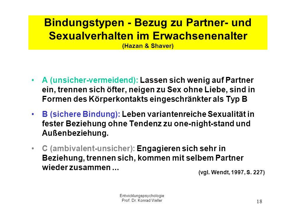 Entwicklungspsychologie Prof. Dr. Konrad Weller 18 Bindungstypen - Bezug zu Partner- und Sexualverhalten im Erwachsenenalter (Hazan & Shaver) A (unsic