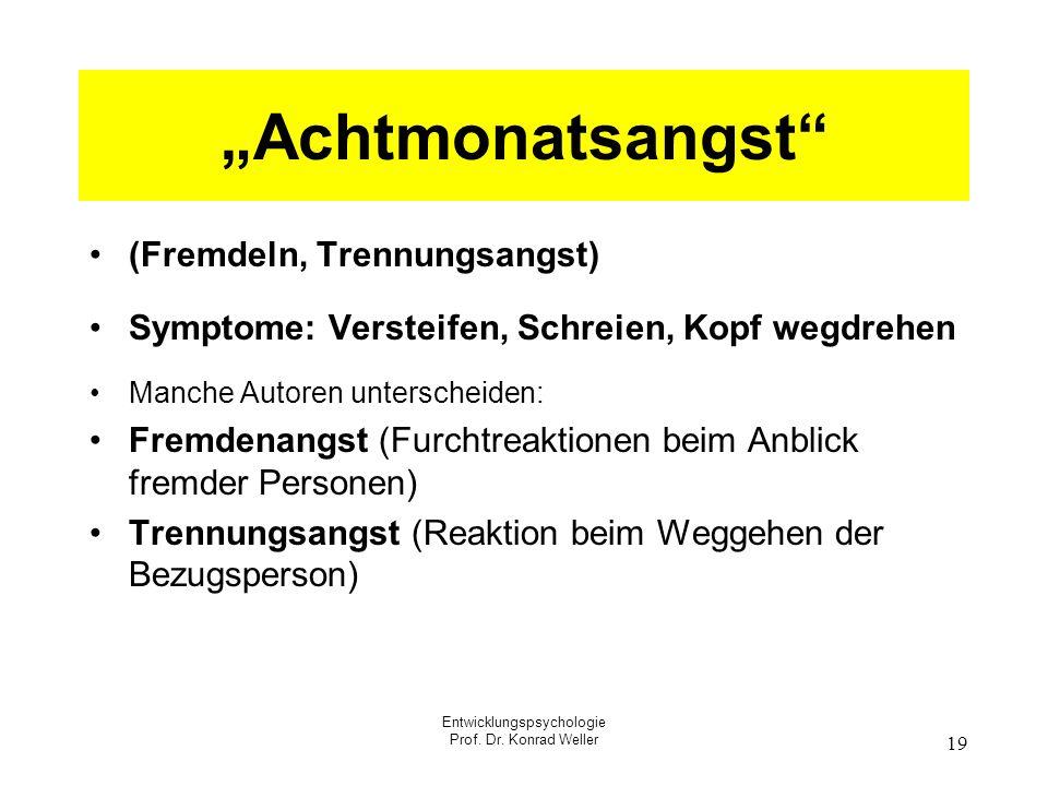 Entwicklungspsychologie Prof. Dr. Konrad Weller 19 Achtmonatsangst (Fremdeln, Trennungsangst) Symptome: Versteifen, Schreien, Kopf wegdrehen Manche Au