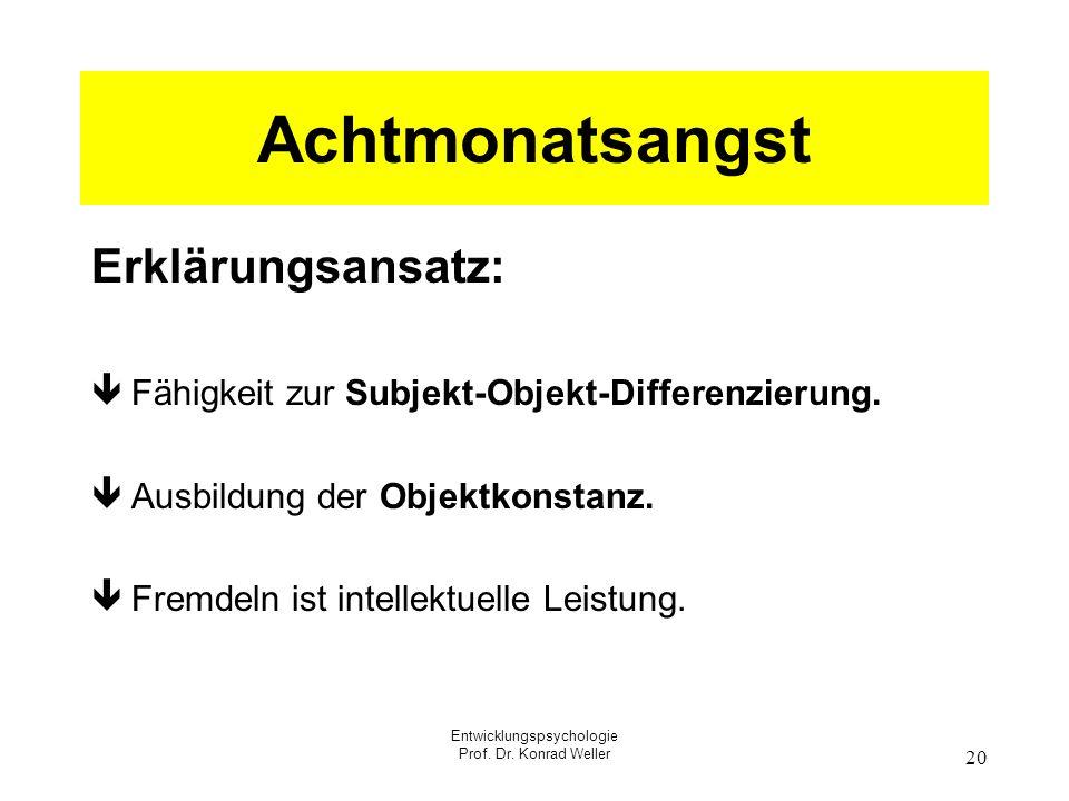 Entwicklungspsychologie Prof. Dr. Konrad Weller 20 Achtmonatsangst Erklärungsansatz: ê Fähigkeit zur Subjekt-Objekt-Differenzierung. ê Ausbildung der