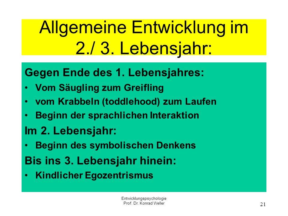 Entwicklungspsychologie Prof. Dr. Konrad Weller 21 Allgemeine Entwicklung im 2./ 3. Lebensjahr: Gegen Ende des 1. Lebensjahres: Vom Säugling zum Greif