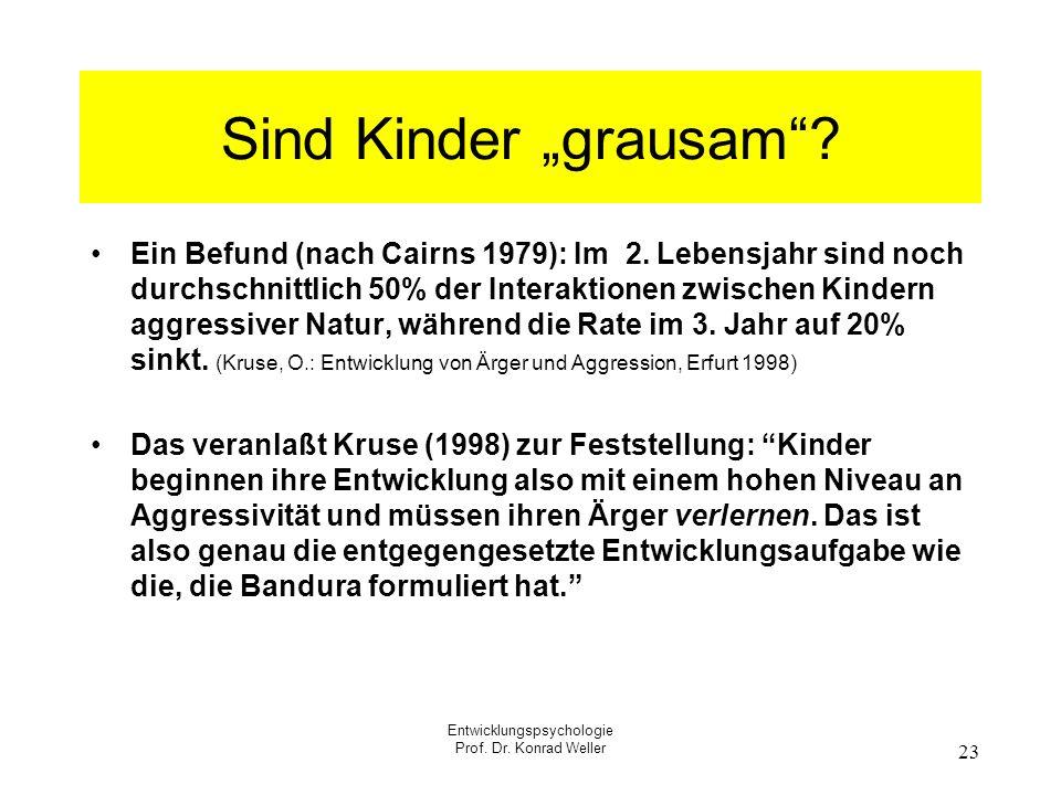 Entwicklungspsychologie Prof. Dr. Konrad Weller 23 Sind Kinder grausam? Ein Befund (nach Cairns 1979): Im 2. Lebensjahr sind noch durchschnittlich 50%