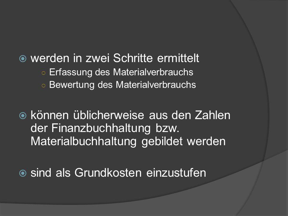 werden in zwei Schritte ermittelt Erfassung des Materialverbrauchs Bewertung des Materialverbrauchs können üblicherweise aus den Zahlen der Finanzbuch