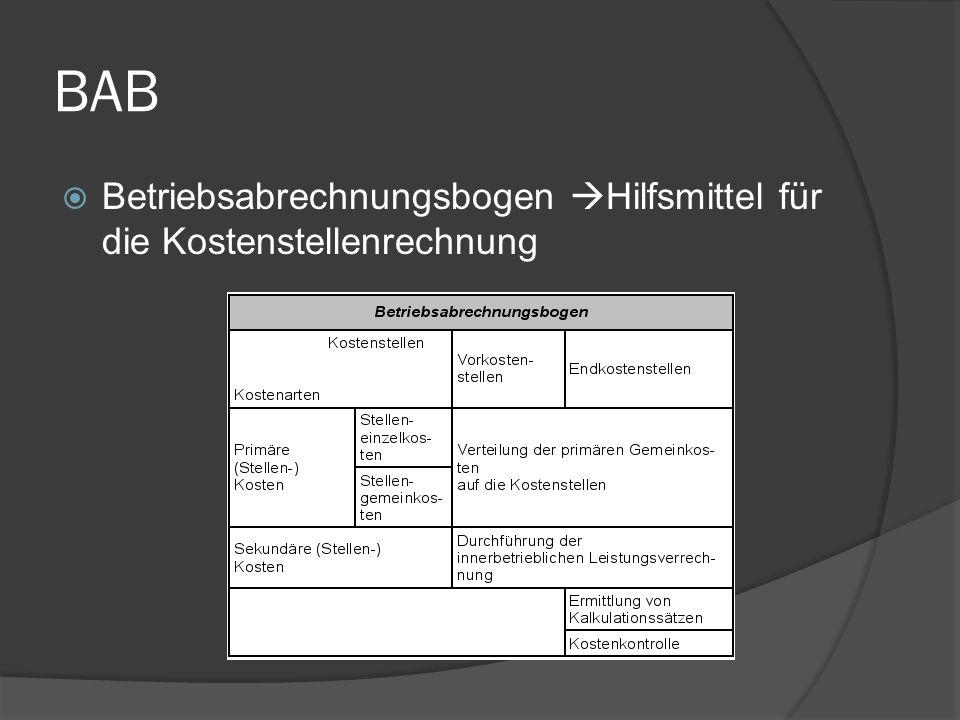 BAB Betriebsabrechnungsbogen Hilfsmittel für die Kostenstellenrechnung