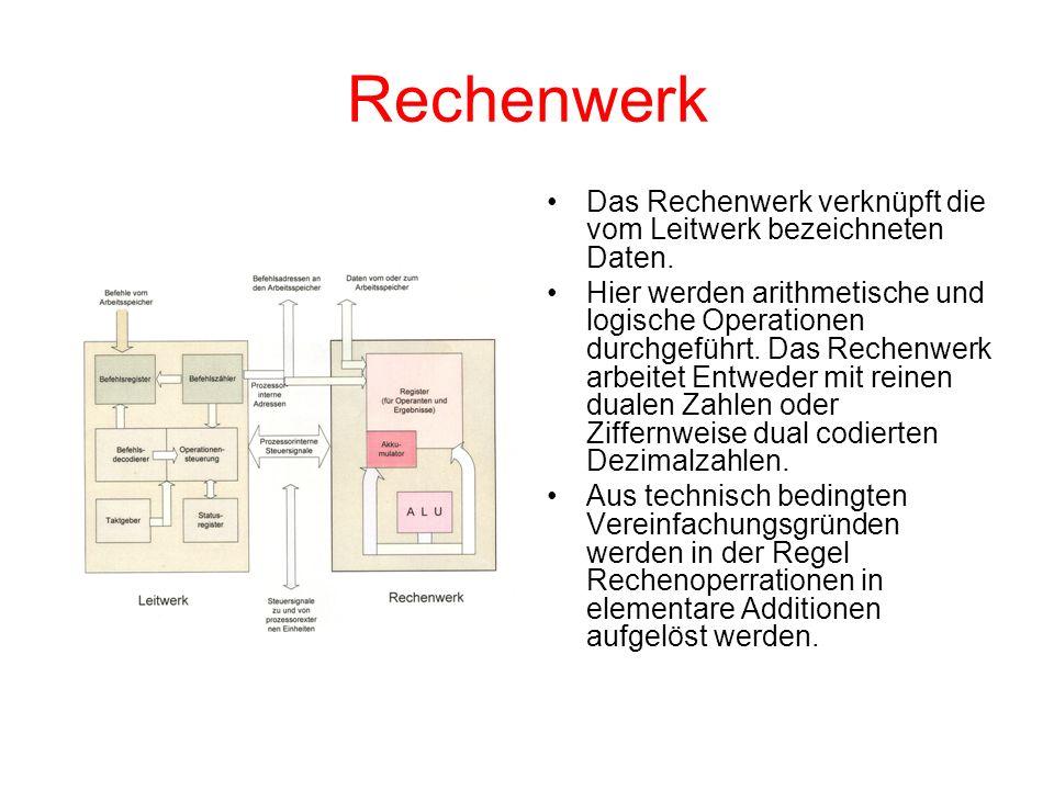 Rechenwerk Das Rechenwerk verknüpft die vom Leitwerk bezeichneten Daten. Hier werden arithmetische und logische Operationen durchgeführt. Das Rechenwe