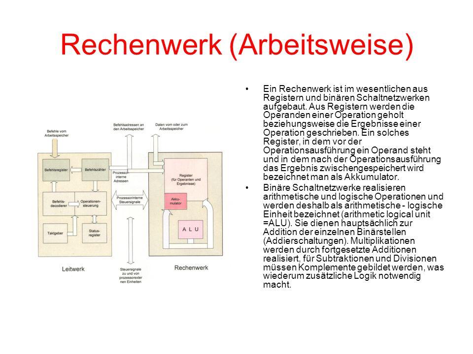 Rechenwerk (Arbeitsweise) Ein Rechenwerk ist im wesentlichen aus Registern und binären Schaltnetzwerken aufgebaut. Aus Registern werden die Operanden