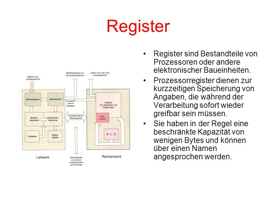 Register Register sind Bestandteile von Prozessoren oder andere elektronischer Baueinheiten. Prozessorregister dienen zur kurzzeitigen Speicherung von