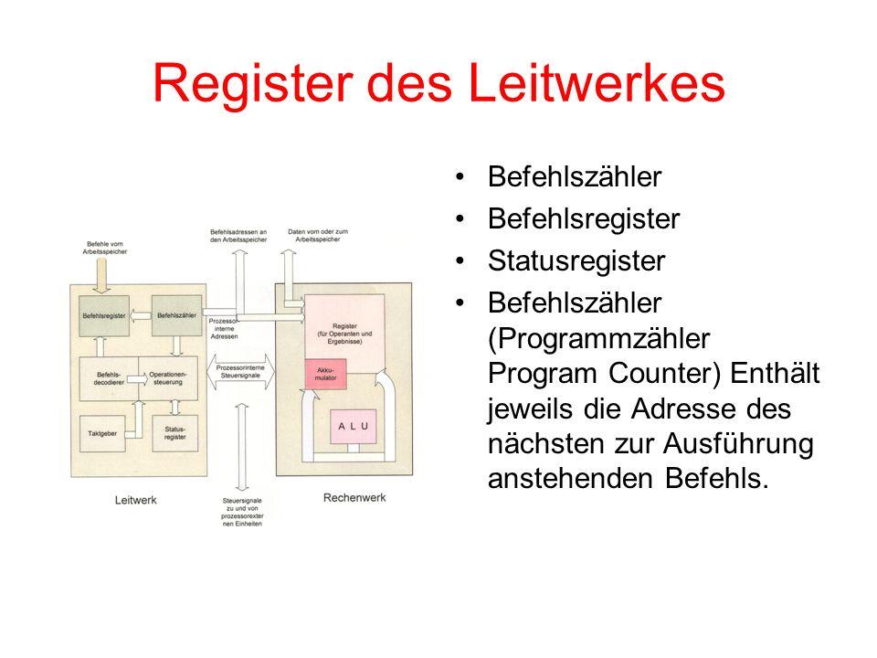 Register des Leitwerkes Befehlszähler Befehlsregister Statusregister Befehlszähler (Programmzähler Program Counter) Enthält jeweils die Adresse des nä