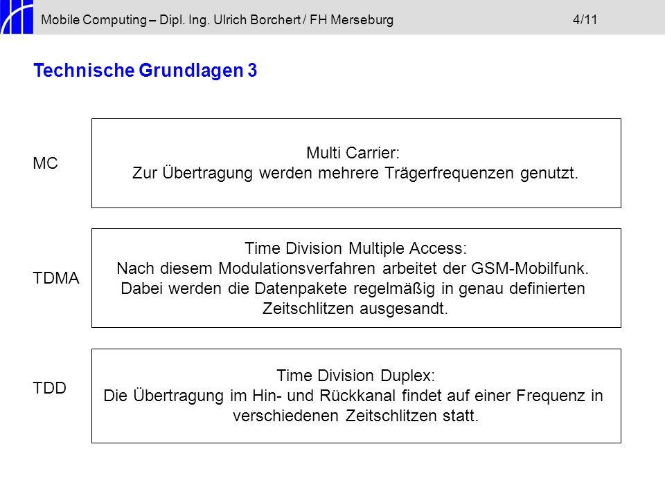 Mobile Computing – Dipl. Ing. Ulrich Borchert / FH Merseburg4/11 Technische Grundlagen 3 MC TDMA TDD Multi Carrier: Zur Übertragung werden mehrere Trä