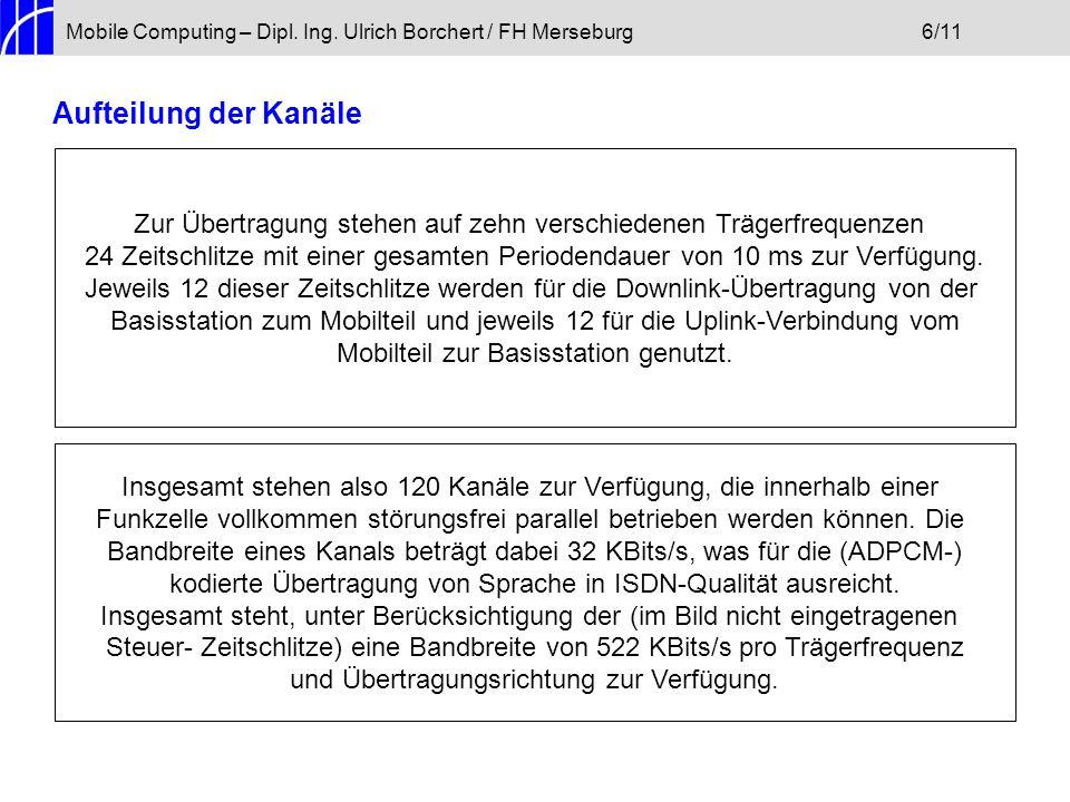 Mobile Computing – Dipl. Ing. Ulrich Borchert / FH Merseburg6/11 Aufteilung der Kanäle Zur Übertragung stehen auf zehn verschiedenen Trägerfrequenzen