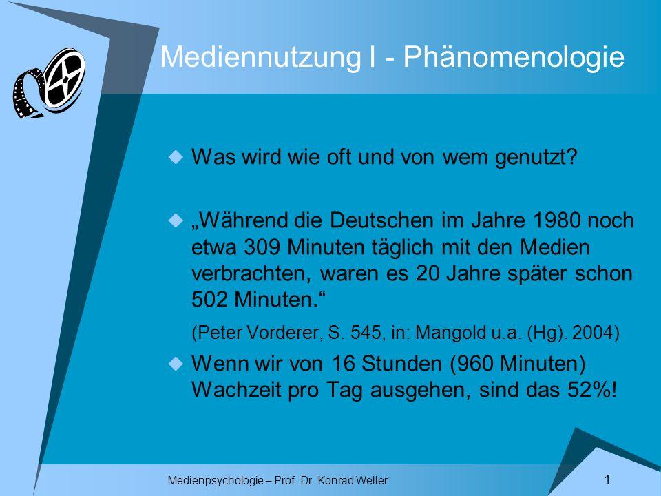 Medienpsychologie – Prof. Dr. Konrad Weller 1 Mediennutzung I - Phänomenologie Was wird wie oft und von wem genutzt? Während die Deutschen im Jahre 19