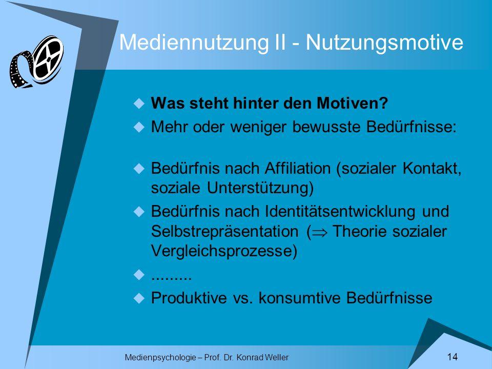Medienpsychologie – Prof. Dr. Konrad Weller 14 Mediennutzung II - Nutzungsmotive Was steht hinter den Motiven? Mehr oder weniger bewusste Bedürfnisse: