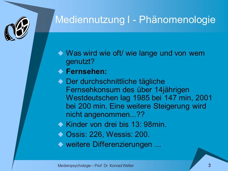 Medienpsychologie – Prof. Dr. Konrad Weller 3 Mediennutzung I - Phänomenologie Was wird wie oft/ wie lange und von wem genutzt? Fernsehen: Der durchsc