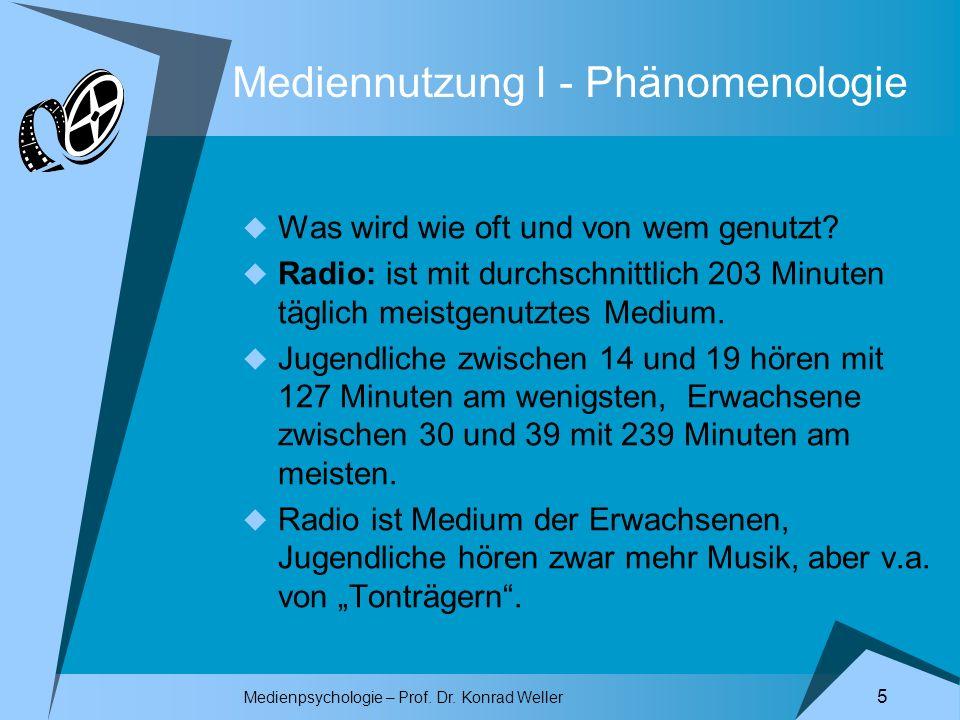 Medienpsychologie – Prof. Dr. Konrad Weller 5 Mediennutzung I - Phänomenologie Was wird wie oft und von wem genutzt? Radio: ist mit durchschnittlich 2