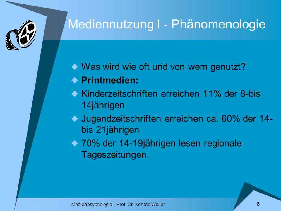 Medienpsychologie – Prof. Dr. Konrad Weller 6 Mediennutzung I - Phänomenologie Was wird wie oft und von wem genutzt? Printmedien: Kinderzeitschriften