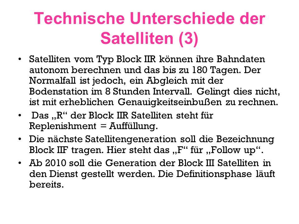 Technische Unterschiede der Satelliten (3) Satelliten vom Typ Block IIR können ihre Bahndaten autonom berechnen und das bis zu 180 Tagen. Der Normalfa
