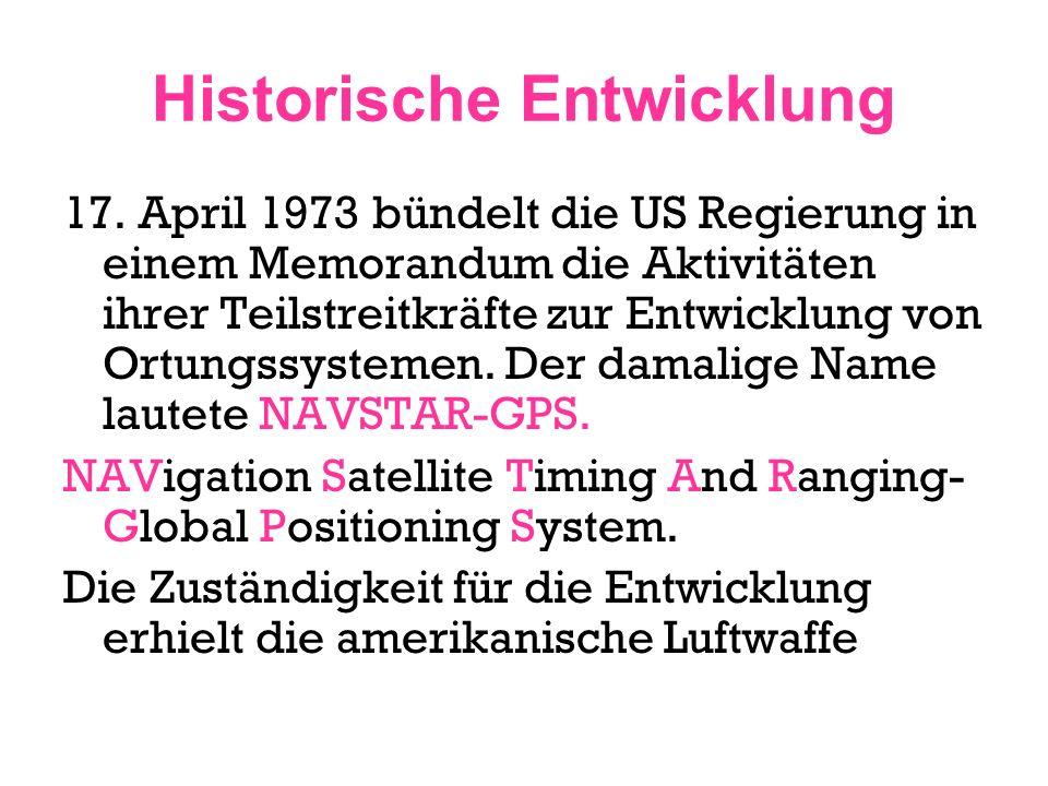 Historische Entwicklung 17. April 1973 bündelt die US Regierung in einem Memorandum die Aktivitäten ihrer Teilstreitkräfte zur Entwicklung von Ortungs