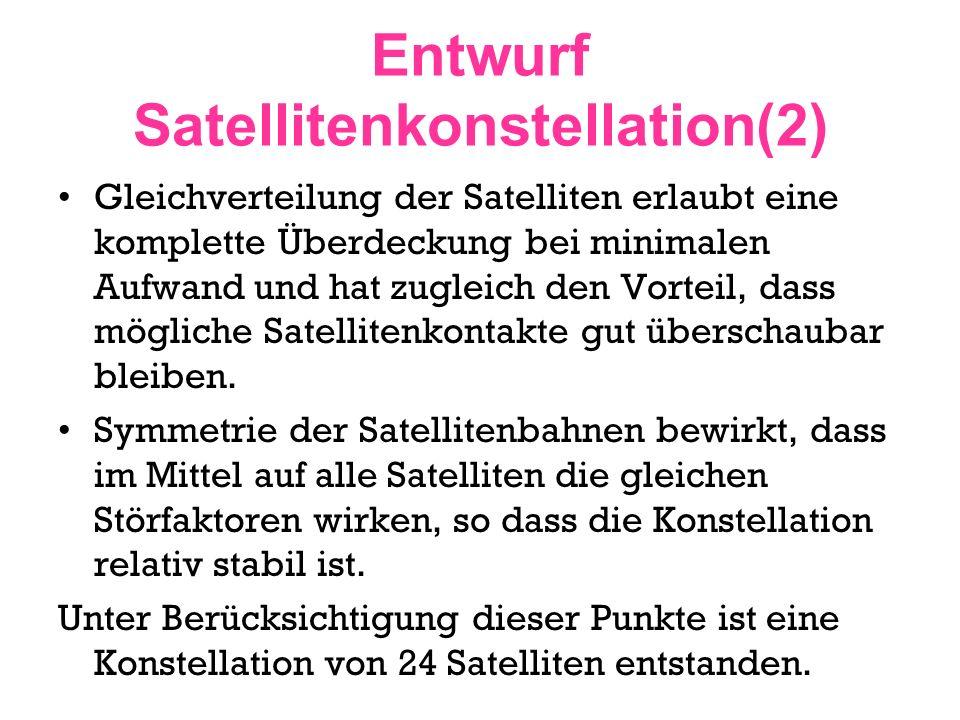 Entwurf Satellitenkonstellation(2) Gleichverteilung der Satelliten erlaubt eine komplette Überdeckung bei minimalen Aufwand und hat zugleich den Vorte
