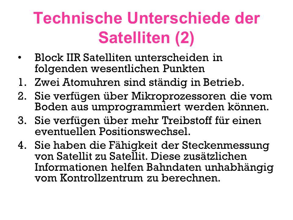 Technische Unterschiede der Satelliten (2) Block IIR Satelliten unterscheiden in folgenden wesentlichen Punkten 1.Zwei Atomuhren sind ständig in Betri