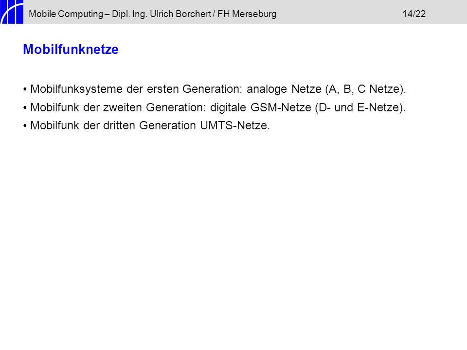 Mobile Computing – Dipl. Ing. Ulrich Borchert / FH Merseburg14/22 Mobilfunknetze Mobilfunksysteme der ersten Generation: analoge Netze (A, B, C Netze)