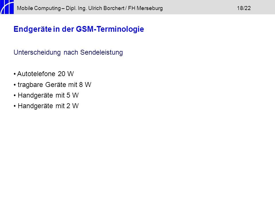 Mobile Computing – Dipl. Ing. Ulrich Borchert / FH Merseburg18/22 Endgeräte in der GSM-Terminologie Unterscheidung nach Sendeleistung Autotelefone 20