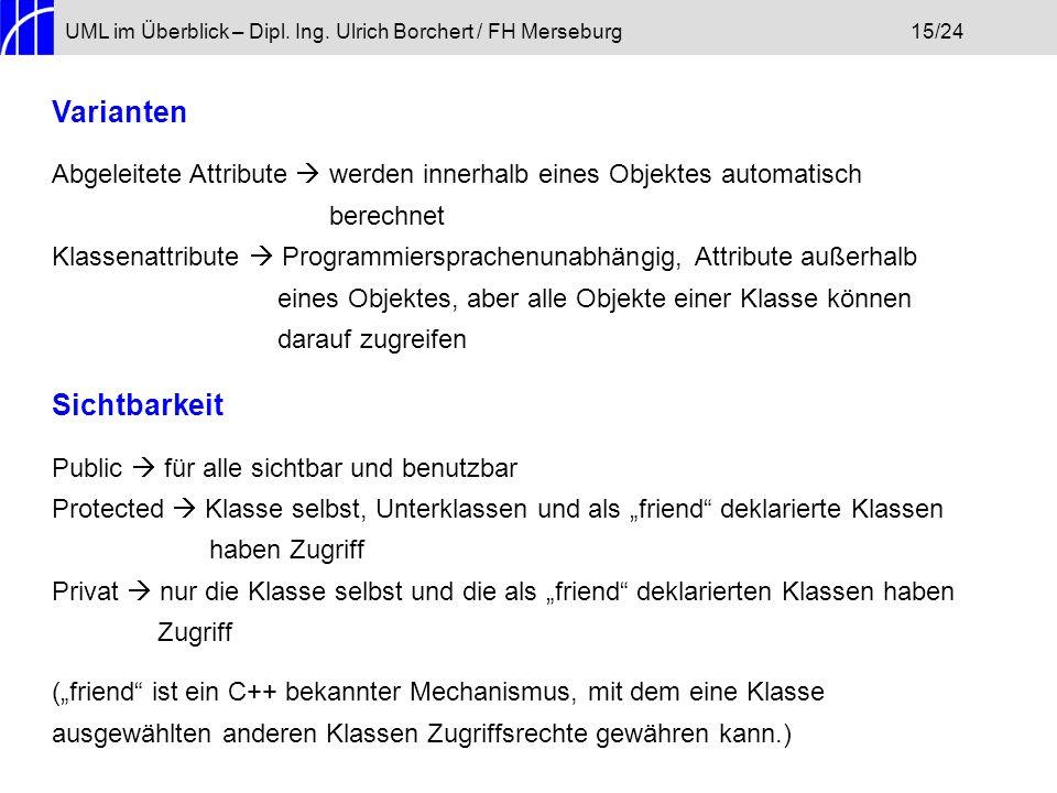 UML im Überblick – Dipl. Ing. Ulrich Borchert / FH Merseburg15/24 Varianten Abgeleitete Attribute werden innerhalb eines Objektes automatisch berechne