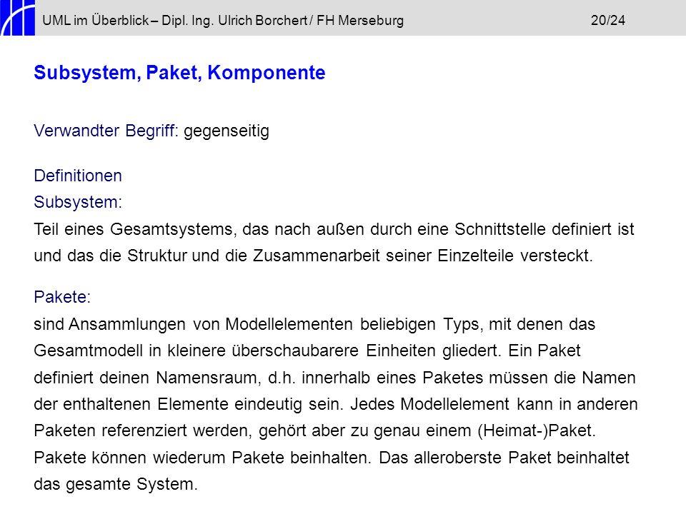 UML im Überblick – Dipl. Ing. Ulrich Borchert / FH Merseburg20/24 Subsystem, Paket, Komponente Verwandter Begriff: gegenseitig Definitionen Subsystem:
