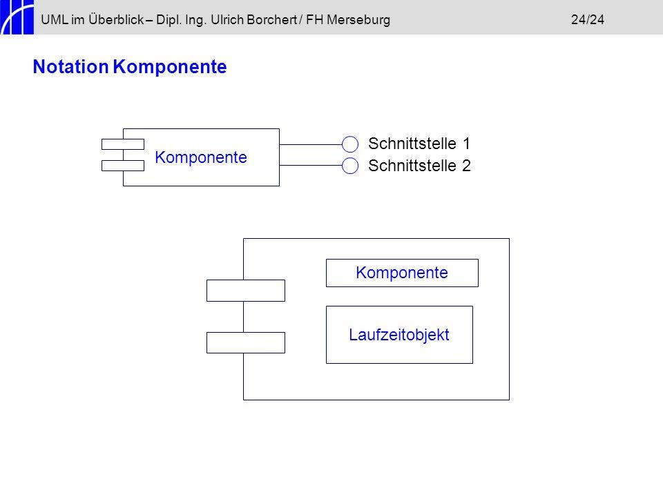 UML im Überblick – Dipl. Ing. Ulrich Borchert / FH Merseburg24/24 Notation Komponente Komponente Schnittstelle 1 Schnittstelle 2 Laufzeitobjekt Kompon