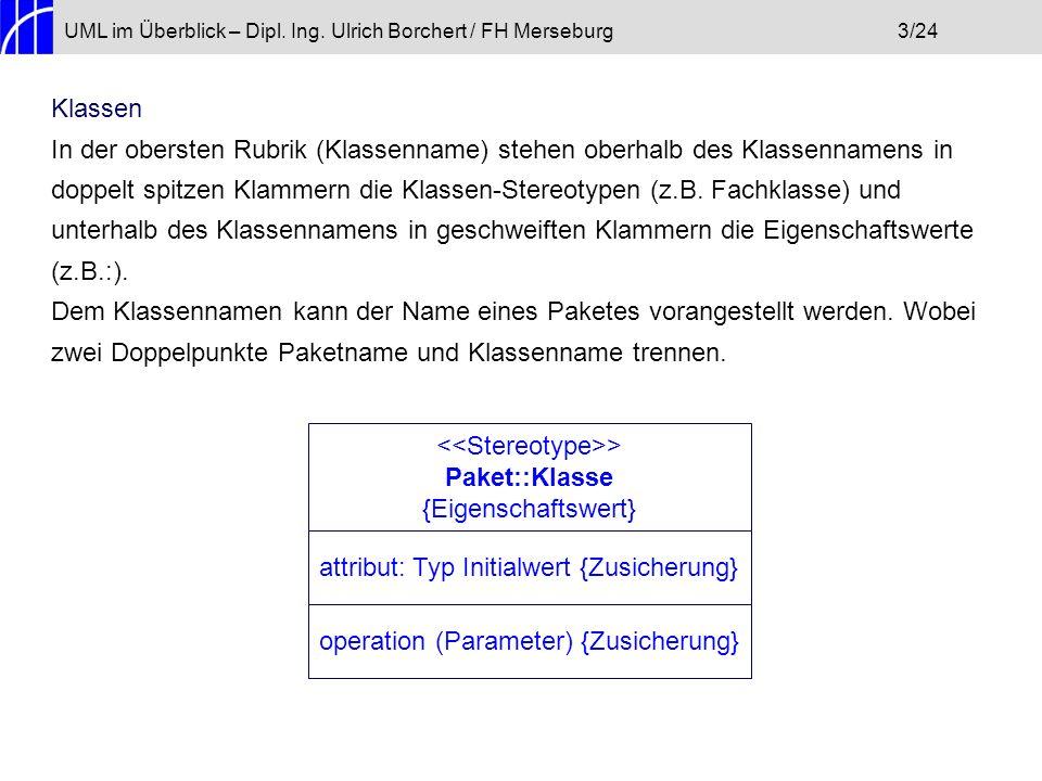 UML im Überblick – Dipl. Ing. Ulrich Borchert / FH Merseburg3/24 Klassen In der obersten Rubrik (Klassenname) stehen oberhalb des Klassennamens in dop