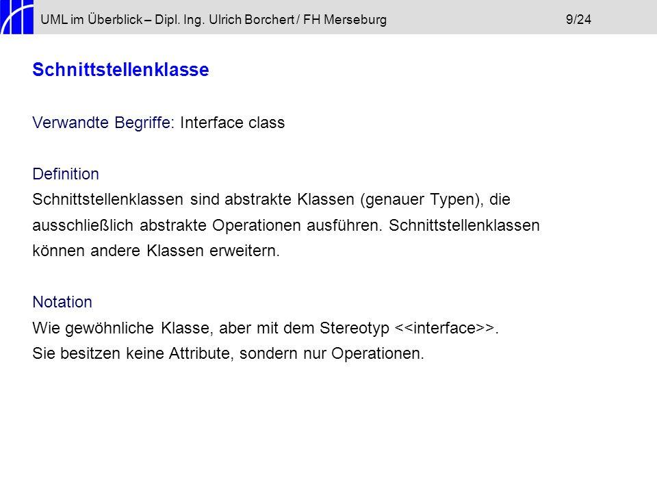 UML im Überblick – Dipl. Ing. Ulrich Borchert / FH Merseburg9/24 Schnittstellenklasse Verwandte Begriffe: Interface class Definition Schnittstellenkla