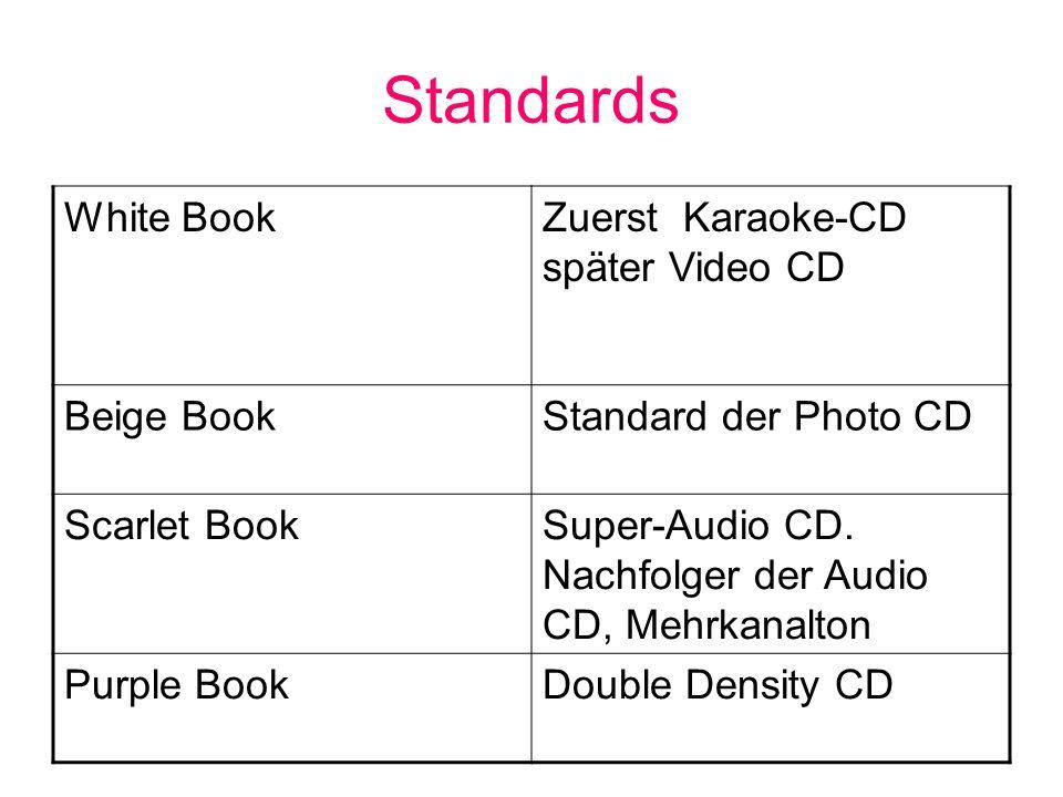 Standards White BookZuerst Karaoke-CD später Video CD Beige BookStandard der Photo CD Scarlet BookSuper-Audio CD. Nachfolger der Audio CD, Mehrkanalto