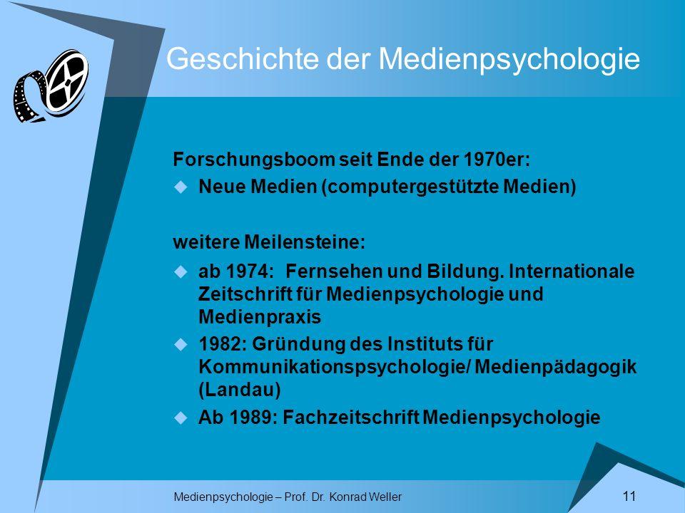 Medienpsychologie – Prof. Dr. Konrad Weller 11 Geschichte der Medienpsychologie Forschungsboom seit Ende der 1970er: Neue Medien (computergestützte Me