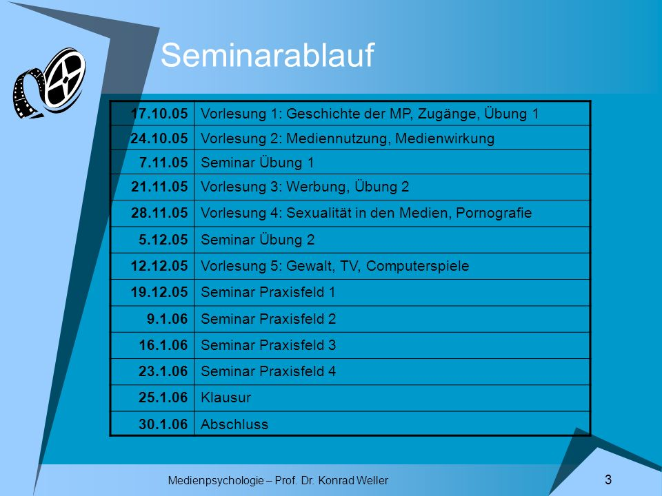 Medienpsychologie – Prof. Dr. Konrad Weller 3 Seminarablauf 17.10.05Vorlesung 1: Geschichte der MP, Zugänge, Übung 1 24.10.05Vorlesung 2: Mediennutzun