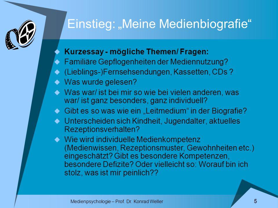 Medienpsychologie – Prof. Dr. Konrad Weller 5 Einstieg: Meine Medienbiografie Kurzessay - mögliche Themen/ Fragen: Familiäre Gepflogenheiten der Medie