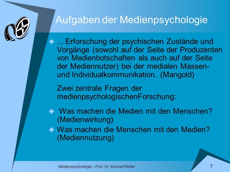 Medienpsychologie – Prof. Dr. Konrad Weller 7 Aufgaben der Medienpsychologie... Erforschung der psychischen Zustände und Vorgänge (sowohl auf der Seit