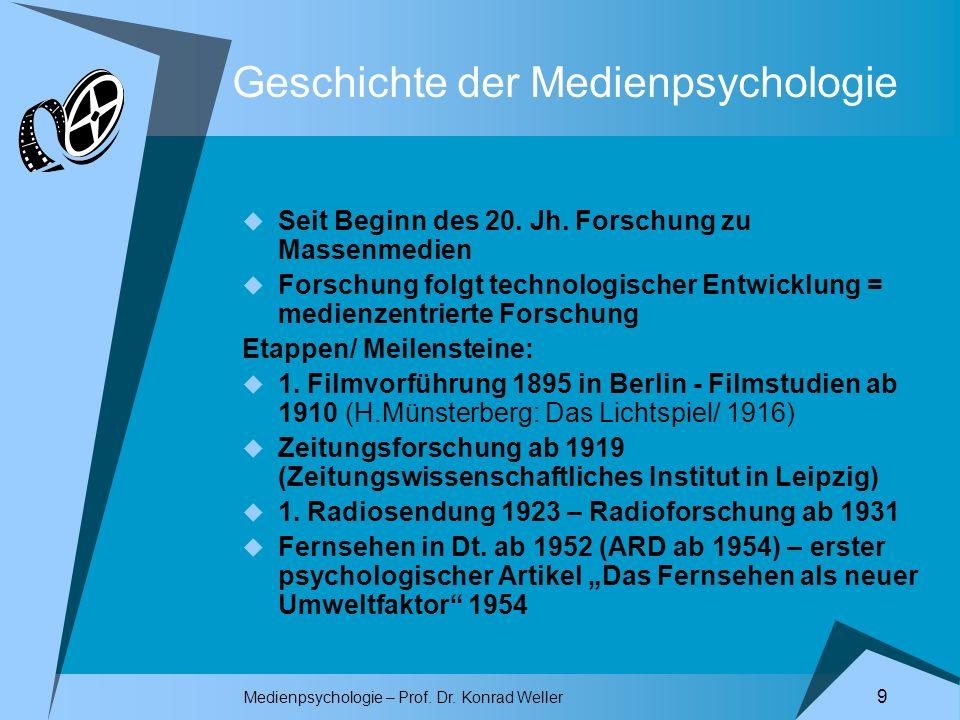 Medienpsychologie – Prof. Dr. Konrad Weller 9 Geschichte der Medienpsychologie Seit Beginn des 20. Jh. Forschung zu Massenmedien Forschung folgt techn
