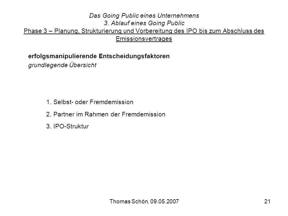 Thomas Schön, 09.05.200721 Das Going Public eines Unternehmens 3. Ablauf eines Going Public Phase 3 – Planung, Strukturierung und Vorbereitung des IPO