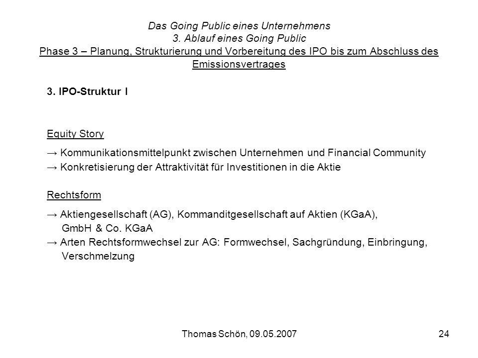 Thomas Schön, 09.05.200724 Das Going Public eines Unternehmens 3. Ablauf eines Going Public Phase 3 – Planung, Strukturierung und Vorbereitung des IPO