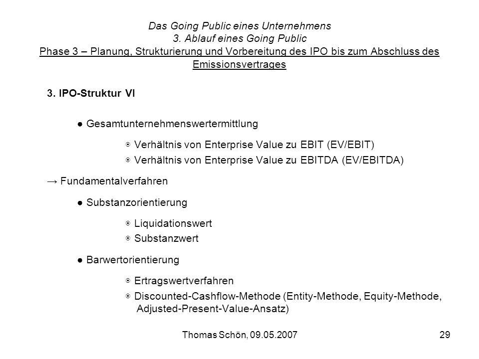 Thomas Schön, 09.05.200729 Das Going Public eines Unternehmens 3. Ablauf eines Going Public Phase 3 – Planung, Strukturierung und Vorbereitung des IPO