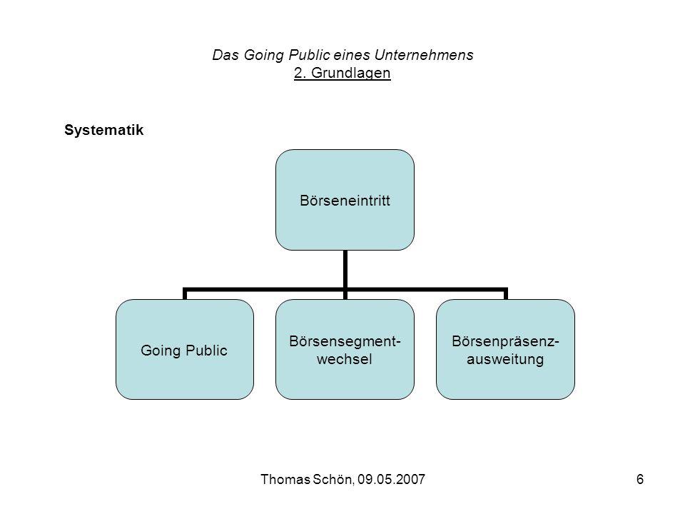 Thomas Schön, 09.05.20076 Das Going Public eines Unternehmens 2. Grundlagen Börseneintritt Going Public Börsensegment- wechsel Börsenpräsenz- ausweitu