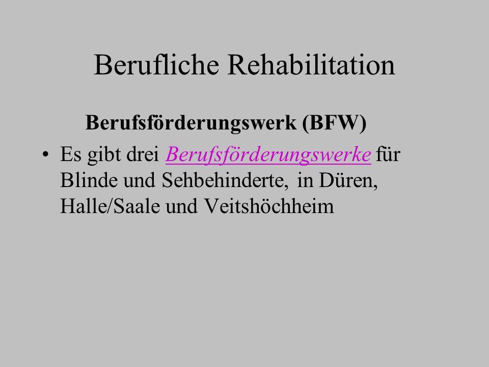 Berufliche Rehabilitation Berufsförderungswerk (BFW) Es gibt drei Berufsförderungswerke für Blinde und Sehbehinderte, in Düren, Halle/Saale und Veitsh