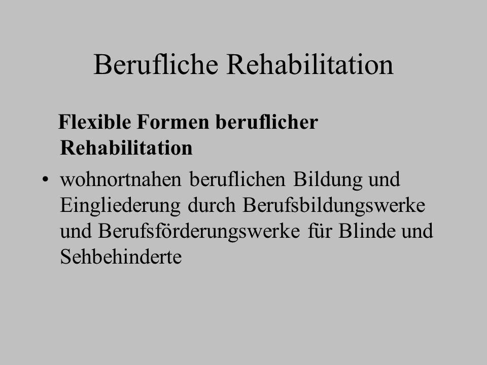 Berufliche Rehabilitation Flexible Formen beruflicher Rehabilitation wohnortnahen beruflichen Bildung und Eingliederung durch Berufsbildungswerke und
